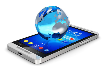 Creative abstract global wireless communication technology and mobility internet web business concept  blue crystal Earth globe world planet with map on modern metal black glossy touchscreen smartphone with colorful interface with color icons and buttons  photo