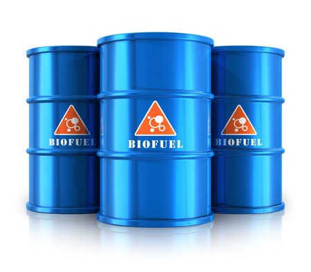 Creative abstract oil and gas fuel manufacturing industry business concept  group of blue metal barrels or drums with ecological natural biofuel isolated on white background with reflection effect photo