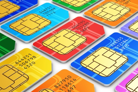 Creative abstract mobile telecommunication, wireless technology and mobility business concept  macro view of group of color SIM cards for mobile phone or smartphone isolated on white background