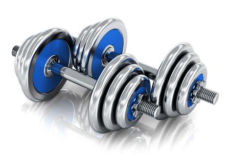 fitness training: Creatieve abstracte sport, fitness training en een gezonde levensstijl concept paar blauwe glimmende metalen halters geà ¯ soleerd op witte achtergrond met reflectie effect