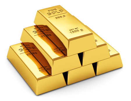 Creative abstract business success, financial growth, banking, accounting and stock exchange trade market corporate concept  stack of shiny gold ingots, bars or bullions isolated on white background Stock Photo - 23499595