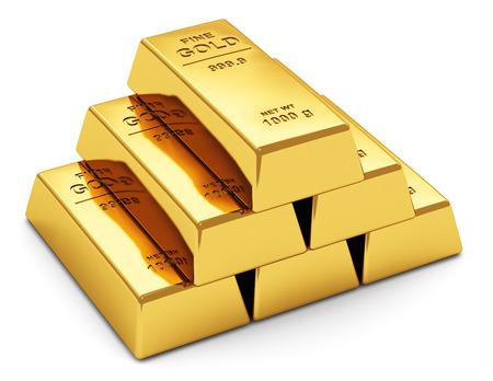 El éxito empresarial abstracto creativo, el crecimiento financiero, la banca, la contabilidad y el mercado comercial de bolsa de valores concepto corporativo pila de lingotes de oro brillante, barras o lingotes aislados sobre fondo blanco.
