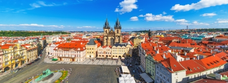 czech women: Scenic summer aerial panorama of the Old Town Square and Church of Our Lady before Tyn in Prague, Czech Republic Stock Photo