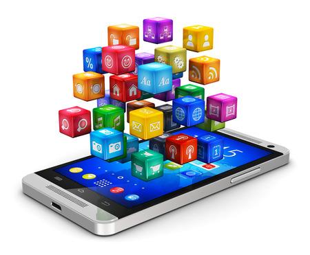 réseautage: Applications mobiles abstraits Creative, logiciels d'entreprise et le concept de l'entreprise de technologie de service de réseautage social media moderne smartphone à écran tactile noir brillant avec le nuage des app couleur des icônes isolé sur fond blanc