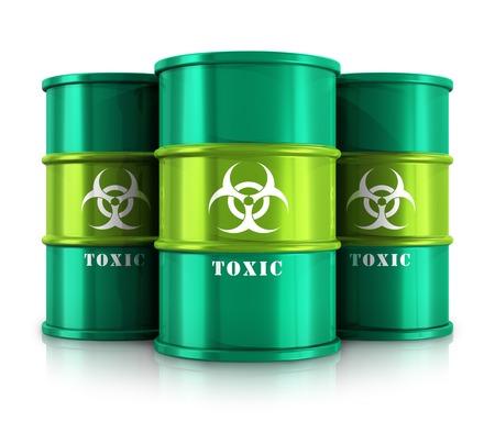 Creatieve abstracte giftige en gevaarlijke stoffen verwijderen en gebruik begrip bedrijfstak groep van groene metalen vaten, drums of containers met gif, gevaarlijke en radioactieve stoffen op een witte achtergrond met reflectie effect