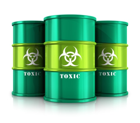 Creative abstract poisonous and dangerous materials disposal and utilization industry concept  group of green metal barrels, drums or containers with poison, hazardous or radioactive materials isolated on white background with reflection effect photo
