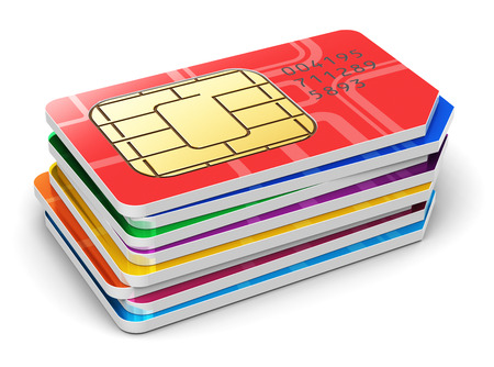 Creative abstract mobile telecommunication, wireless technology and mobility business concept  macro view of group of stacked color SIM cards for mobile phone or smartphone isolated on white background