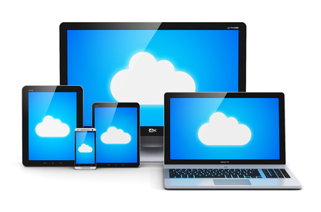 computer cloud: Creative abstract cloud computing technology, wireless internet telecommunication and web connection business concept  laptop or notebook, tablet computer PC and smartphone or mobile phone with blue sky and cloud symbol on screen isolated on white backgro Stock Photo