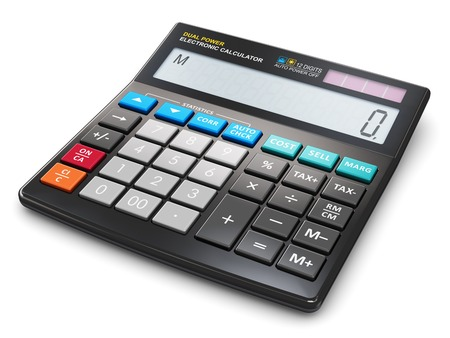 Modern office business financial electronic calculator isolated on white background Stock Photo