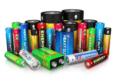 bateria: Grupo de los diferentes tipos de pilas de color de tama�o de aislados en fondo blanco con efecto de reflexi�n de dise�o es el m�o y todas las etiquetas de texto son totalmente abstracta Foto de archivo