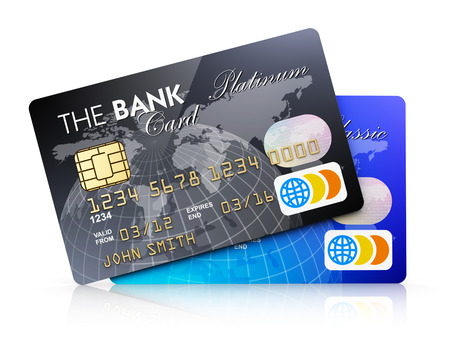 card payment: Creative abstract electronic banking and finance business concept  set of plastic credit cards isolated on white background with reflection effect  Design is my own and all text labels are fully abstract