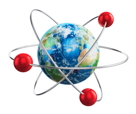 Creative abstract global communication technology and internet telecommunication services business concept  chemical atom model from Earth globe planet with world map isolated on white background Stock Photo