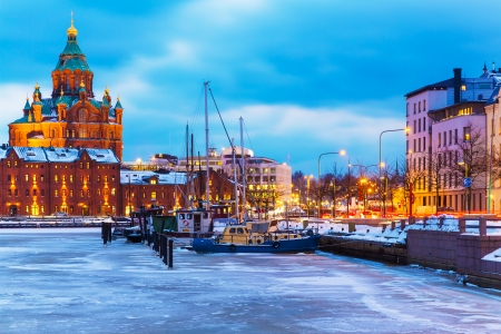 Winter evening scenery of the Old Town pier architecture in Helsinki, Finland photo