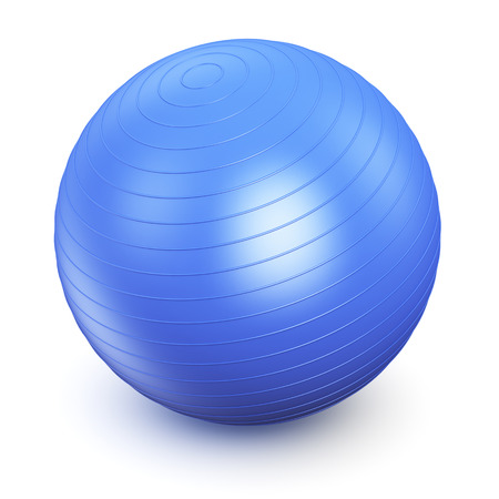 pilates: Blue fitness ball isolated on white background