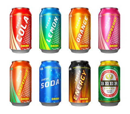 コーラ、レモン、オレンジ、ラズベリー、グレープ フルーツ、ソーダ、エネルギード リンク、白い背景で隔離のビールと缶色金属飲み物のセット
