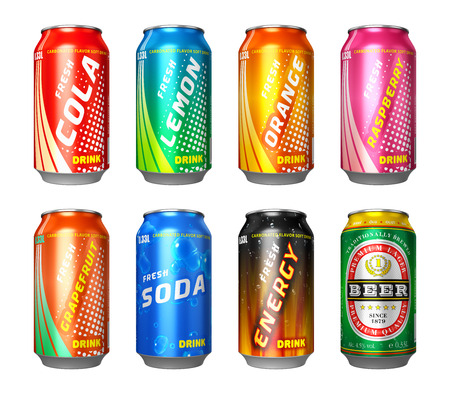 cola: Set of color metal drink cans with cola, lemon, orange, raspberry, grapefruit, soda, energy drink and beer isolated on white background