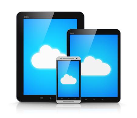 wifi internet: Conexi�n de la tecnolog�a cloud computing abstracto creativo, telecomunicaci�n inal�mbrica a Internet y web concepto de negocio equipo de tablet PC y moderno brillante smartphone con pantalla t�ctil de color negro o tel�fono m�vil con el cielo azul y la nube s�mbolo en pantalla aislado en w