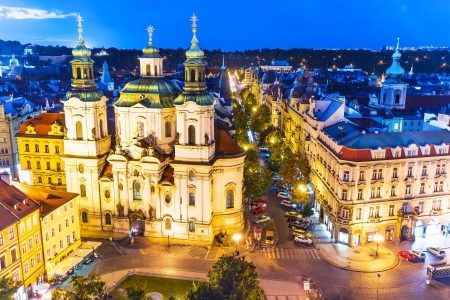 Scenic evening summer aerial view of the Old Town Square in Prague, Czech Republic photo