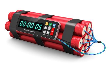 デジタル countown タイマー時計白い背景で隔離の爆発的な TNT の時限爆弾