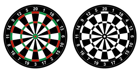 board games: illustration of color and black and white dartboard for darts game isolated on white background