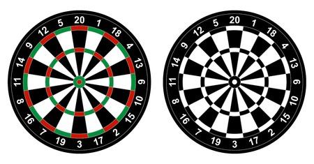 �board: ilustraci�n de color y dartboard blanco y negro para el juego de los dardos aislados en fondo blanco Vectores