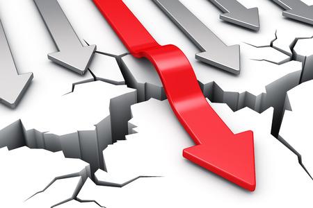 crisis economica: flecha roja superación grieta obstáculo aislado en fondo blanco Foto de archivo