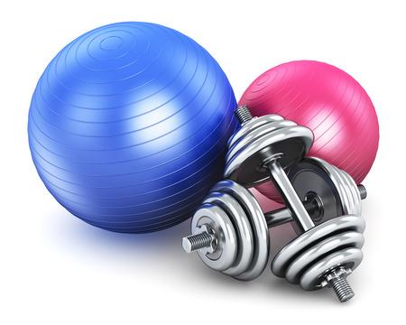 フィットネス ボールと白い背景で隔離された金属の光沢のあるダンベルのペア