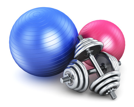 fitness balls and pair of metal shiny dumbbells isolated on white background Stock Photo