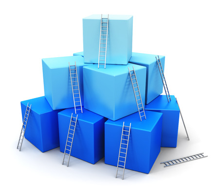 group of blue cubes with ladders isolated on white background photo