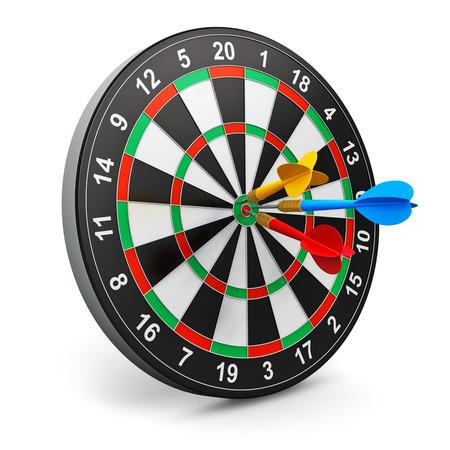 사격: 흰색 배경에 고립 다트와 색 화살표가있는 다트 게임 스톡 사진