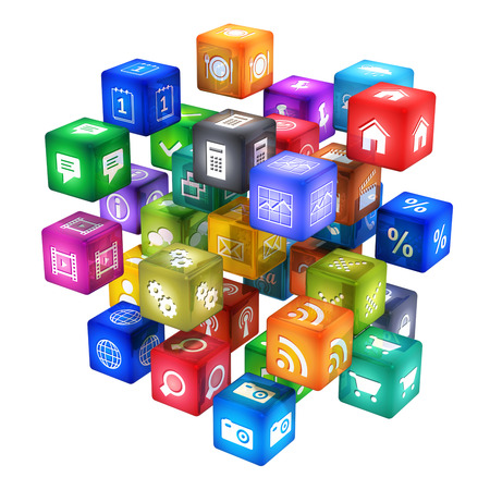 group of color app icons or buttons for smartphone or tablet computer PC isolated on white background photo