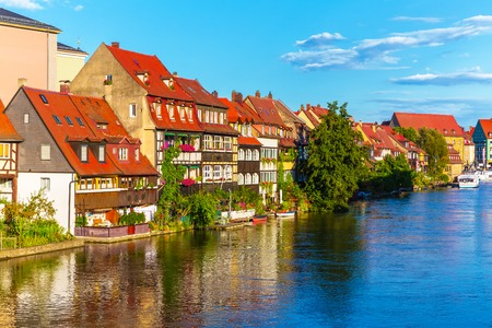 Scenic summer panorama of the Old Town pier architecture in Bamberg, Bavaria, Germany photo