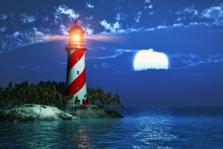 Noche paisaje de costa tropical del mar con el faro y la luna llena en la medianoche Foto de archivo