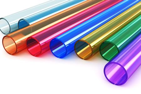 plastico pet: Macro vista de conjunto de tubos de plástico acrílico de colores aislados sobre fondo blanco