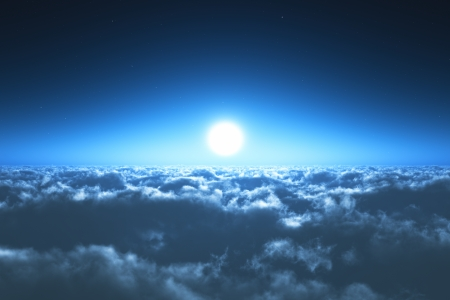 Scenic view of night flight above the clouds with full moon and dark blue sky with stars at the midnight photo