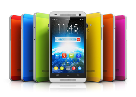 group of modern metal glossy touchscreen smartphones with colorful interface with color icons and buttons isolated on white background photo