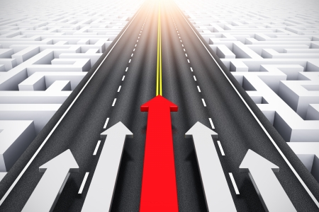 Creative abstract success, leadership and business competition challenge corporate concept  group of arrows moving by highway over endless labyrinth photo