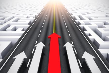 laberinto: Éxito abstracto creativo, el liderazgo y el desafío de la competencia de negocios del grupo el concepto de empresa de flechas en movimiento por carretera sobre el laberinto sin fin Foto de archivo
