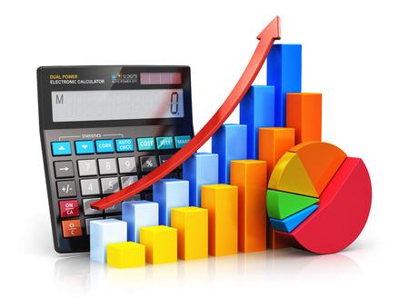 Creatieve abstracte zakelijk financieel succes, fiscale en boekhoudkundige, statistieken en analytisch onderzoek concept zwarte kantoor elektronische rekenmachine, kleur staafdiagram grafieken en taart diagram op wit wordt geïsoleerd Stockfoto