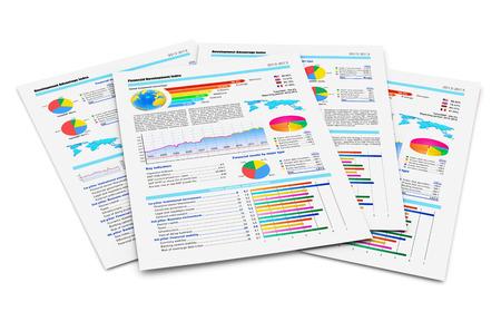 Creatieve abstracte zaken papierwerk en kantoor werk collectief begrip stapel papieren documenten met financiële rapporten met kleur staafdiagrammen, cirkeldiagrammen en statistische informatie gegevens op wit wordt geïsoleerd
