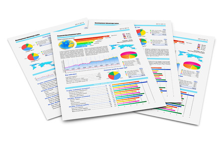 financial analysis: Creative abstract business paperwork and office work corporate concept  stack of paper documents with financial reports with color bar graphs, pie charts and statistic information data isolated on white