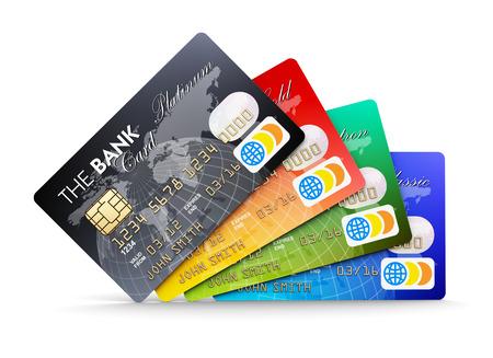 흰색 배경에 절연 플라스틱 신용 카드의 창조적 인 추상 전자 은행 및 금융 비즈니스 개념 세트