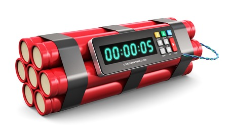 TNT time bomb explosive with digital countdown timer clock isolated on white
