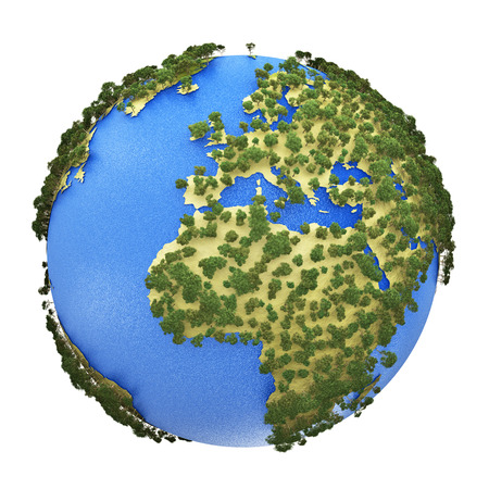 Creative abstract global ecology and environment protection business concept  mini green Earth planet globe with world map isolated on white  photo