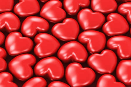 Creative abstract Valentines Day, love and wedding celebration concept  background from red glossy heart shapes photo