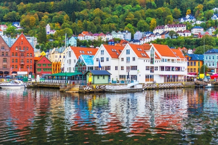Scenic summer panorama of the Old Town pier architecture of Bryggen in Bergen, Norway Stok Fotoğraf