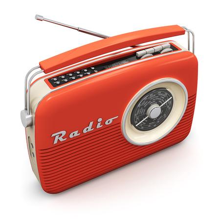 Old red vintage retro style radio receiver isolated on white background photo
