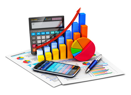 Creative abstract business financial success, tax and accounting, statistics and analytic research concept  office electronic calculator, color bar graph charts, pie diagram, smartphone and pen on financial reports isolated on white background Banque d'images