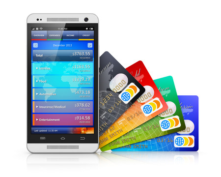 Mobile banking, business finance and making money commercial technology concept  modern metal black glossy touchscreen smartphone with personal wallet application and group of color credit cards isolated on white background with reflection effect photo