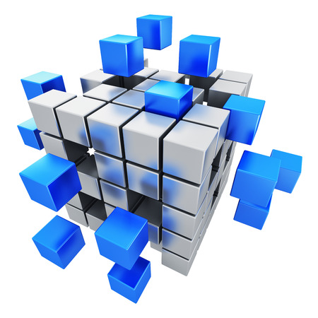 assembling: Creative abstract business teamwork, internet and communication concept  metal cubic structure with assembling blue metallic cubes isolated on white background